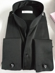 MorCouture Black Band Collar Shirt -Custom order(other colors)