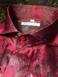 MorCouture Black Cherry Paisley Spread Collar Shirt (over 200 color options)