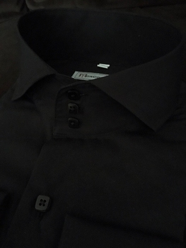 MorCouture Black Cutaway Collar Shirt sizeM (15.5 - 16)
