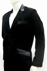 MorCouture Black Suede Leather Trim Blazer