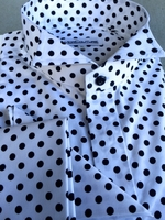 MorCouture Black Polka Dot Wing Collar Shirt w/Hanky