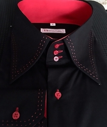 MorCouture Black Red Stitch High Collar Shirt