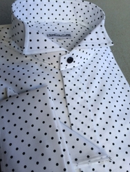 MorCouture Black Small Polka Dot Wing Collar Shirt
