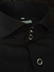 MorCouture Black Spread Collar Shirt Deluxe