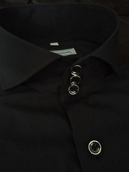 MorCouture Black Spread Collar Shirt Deluxe -Special order