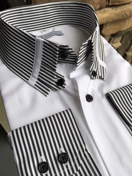 MorCouture Black Striped Tab Collar Shirt -Special order