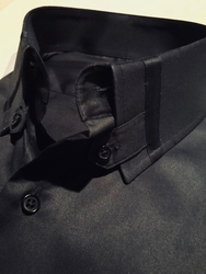 MorCouture Black Tab Collar Shirt -Special Order