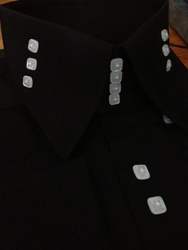 MorCouture Black/White <br>4-Button 3-Button Side <br>High Collar Shirt