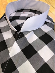 MorCouture Black White Check Band Collar Shirt