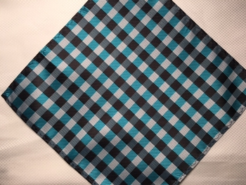 MorCouture Blue Brown Box 8.5inch Silk Pocket Hanky.