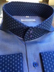 MorCouture Blue Contrast Spread Collar