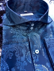MorCouture Blue Paisley (#29)Spread Collar Shirt (over 200 color options)