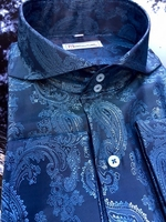MorCouture Blue Paisley Spread Collar Shirt