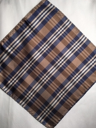 MorCouture Brown Navy Plaid 8.5inch Silk Pocket Hanky