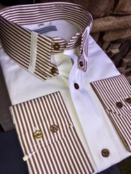 MorCouture Brown Striped Tab Collar Shirt -Special order