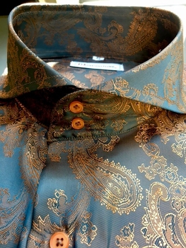 MorCouture Copper Paisley Spread Collar Shirt (over 200 color options)