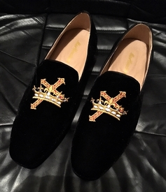 MorCouture Embroidered Cross Crown Loafers