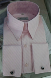 MorCouture Custom Light Pink Satin Stripe Tim Walker Shirt 3 button 6cm height