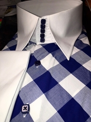 MorCouture Dark Blue Check High Collar Shirt w/matching hanky