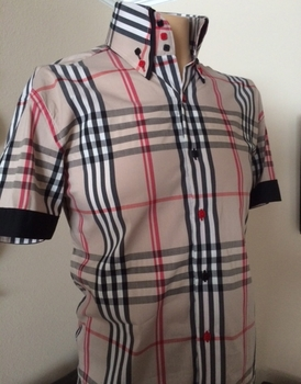 MorCouture  Tan Exploded Check Short Sleeve High Collar Shirt