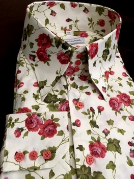 MorCouture Floral Straight High Collar Shirt