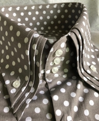 MorCouture Gray White Polka Dot Triple High Collar Shirt -Custom order