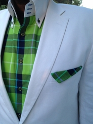 MorCouture Green Plaid High Collar Shirt w/Hanky (Suit view)