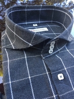 MorCouture Grey Windowpane Shirt -Special Order