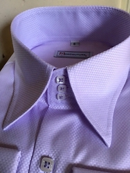 MorCouture Lavendar Woven 3Button High Collar Shirt -Special order