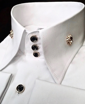 MorCouture Limited Edition White Black  Lion High Collar Shirt