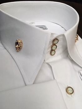 MorCouture Limited Edition White Lion High Collar Shirt (Flat cotton)