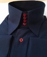 MorCouture Navy Red 4 Button High Collar shirt size M(15.5 - 16)