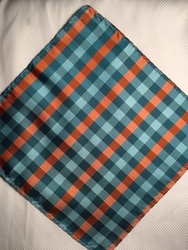 MorCouture Orange Stripe 8.5inch Silk Pocket Hanky.