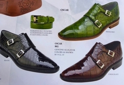 MorCouture Oscar Alligator Monk Strap Shoes