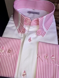 MorCouture Pink Striped Tab Collar Shirt