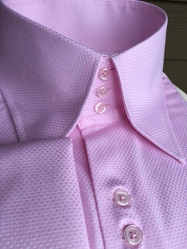 MorCouture Pink Woven High Collar Shirt
