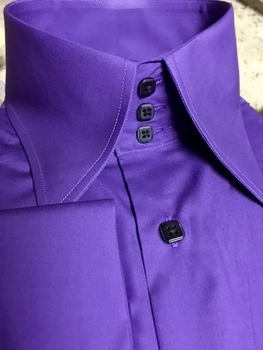 MorCouture Purple Black High Collar Shirt