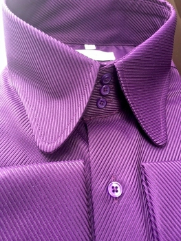 MorCouture Purple Ribbed Curbed High Collar Shirt