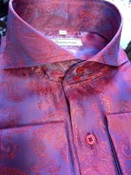 MorCouture Raspberry Paisley Spread Collar Shirt -Special  order