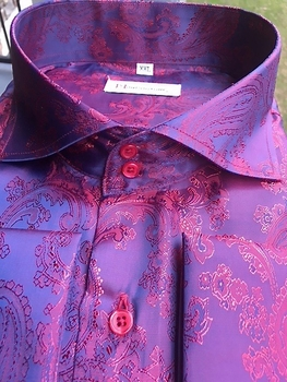 MorCouture Raspberry Paisley Spread Collar Shirt (over 200 color options)
