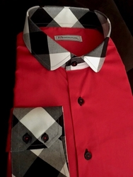 MorCouture Red Check Collar Shirt -Custom Order
