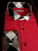 MorCouture Red Check Collar Shirt size L