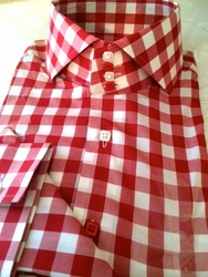 MorCouture Red Gingham Spread High Collar Shirt -Special order