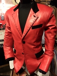 MorCouture Red Leather Suede Trim Blazer -Custom Order