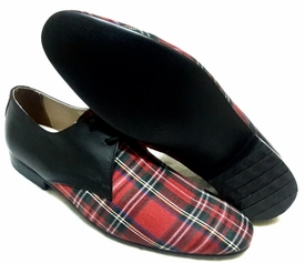 MorCouture Red Plaid Black leather Lace Up Shoes
