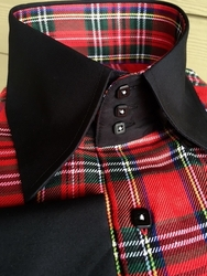 MorCouture Red Plaid Black Trim High Collar Shirt w/Hanky
