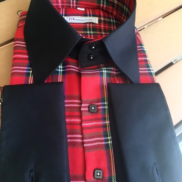 MorCouture Red Plaid White Trim High Collar Shirt w//Matching Hanky
