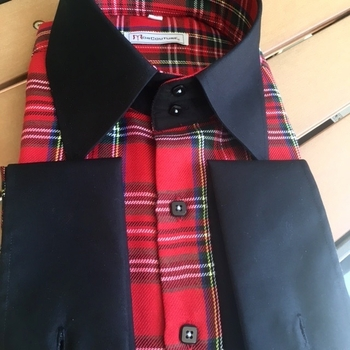 MorCouture Red Plaid Black Trim High Collar Shirt(2 button)