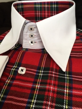 MorCouture Red Plaid White Trim High Collar Shirt w/Hanky