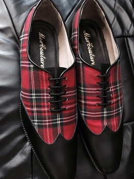 MorCouture Red Plaid Wingtips